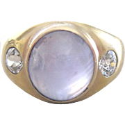 Vintage 14K yellow gold ring set with cab lavendar star sapphire and diamonds