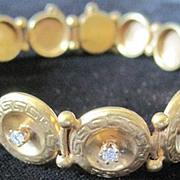 English Victorian 10k yellow gold bracelet set with 0.25 diamonds  weighing 9.6 grams