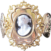 Exceptional Georgian 18k yellow gold and stone carved cameo wide cuff bracelet