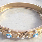 Victorian bangle bracelet 14k yellow gold turquoise flowers sprinkled with real pearls