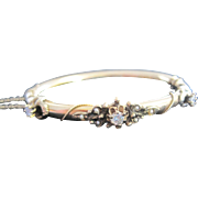 Georgian 14k yellow gold bangle bracelet set with diamonds and seed bead real pearls
