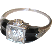 Art Deco period platinum onyx and diamond ring .75 center stone