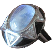 ART DECO period oval cab Moonstone triangular diamonds and black sapphires