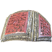 Heavily carved cinnabar bangle bracelet set in gold gilt over silver made in1920's China
