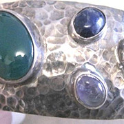 Taxco Modernist hand hammered sterling hallmarked cuff bracelet with jewels