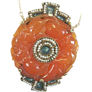 Vintage 14k yellow gold carved Carnelian enamel and seed bead necklace