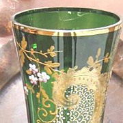 Vintage Tall green glass Vase with applied Enamel flowers and gold decorations