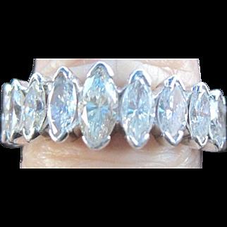 Vintage all marquis wedding band set with14kwg: rhodium plate:,6.6grm3.5 tw diamonds
