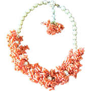 Miriam Haskell heavy faux coral and imitation pearl necklace signed clasp