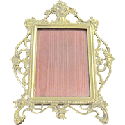 Vintage Art Nouveau brass Gorham picture frame with a rose motif
