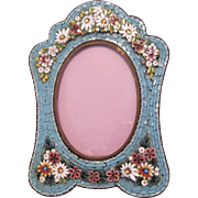Vintage Italian Micro Mosaic picture frame with masses of raised flowers
