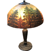 Arts & Crafts signed Handel table lamp and original forest scenic shade #5345