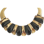 Signed Dior thick chain choker necklace with bright faux gold and matt black rolled front.