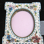 Tiny Italian Micro Mosaic frame with self standing wire easel