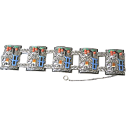 German Unique Art Deco sterling marcasite and enamel link bracelet