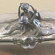 Art  Nouveau WMF pewter centerpiece featuring lovers has glass scalloped insert