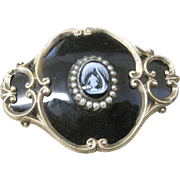 Antique Mourning locket pin stone cameo scenic seed beads enamel 15k yellow gold
