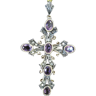 Vintage 18k yellow and white gold cross set with rose cut diamonds and amethysts