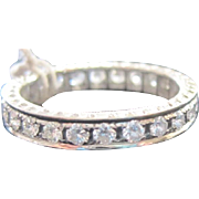Vintage 18k white gold ladies eternity style wedding band 1.20 carat size 6