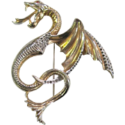 """Wonderful gold washed Gargoyle figural pin 3"""" high with rhinestone trimmed wings"""