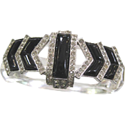 Vintage clear lucite clamper bracelet bracelet with black onyx and rhinestones