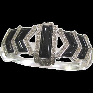 Vintage clear lucite clamper bracelet bracelet with black onyx and rhinestones