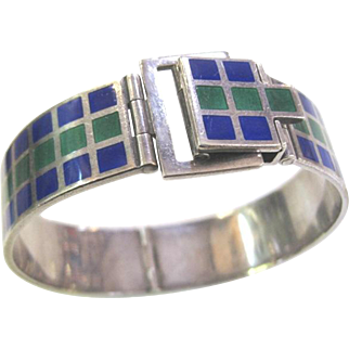 Vintage Revlon 900 silver and enamel belt buckle cuff bracelet