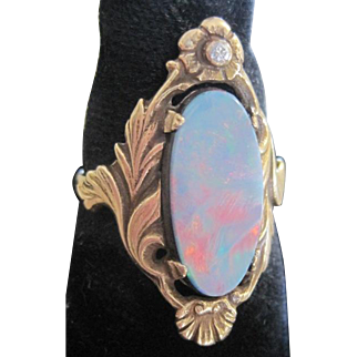 Nice Victorian 14k yellow gold elongated foiled opal and diamond ring