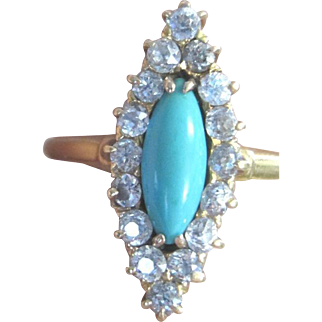 Vintage 14kyg turquoise navette surrounded by diamonds