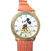 Circa 1980's 18k yellow gold Mickey Mouse watch by Jean Lassale Swiss made