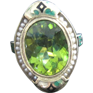 Art Deco 14k yellow gold enamel peridot ring with seed pearl surround