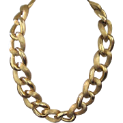 Heavy link Napier gold washed costume jewelry necklace