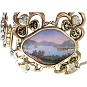 Vintage Swiss 18k yellow gold and enamel link bracelet with painted scenic front