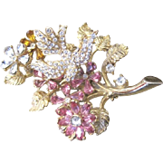 Vintage Hattie Carnegie trembler rhinestone and flower garden pin signed