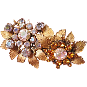 Miriam Haskell pin with flowers and rhinestones