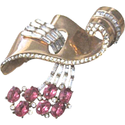 Lovely Retro Sterling vermeil Corocraft bow pin with rhinestones