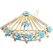 Victorian 14k yellow gold fan pin turquoise flowers and real seed pearls added 14k chain