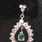 Vintage 18kwg 1.25ct Diamonds and natural dangle 0.50ct. Emerald pierced earrings