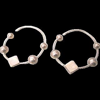 18k Rose gold geometric hoop earrings for pierced ears