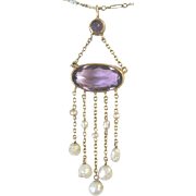 Victorian Amethyst and natural seed pearl dangle necklace and chain