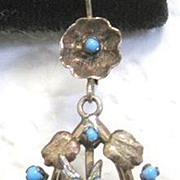 Victorian 14k yellow and rose gold dangle earrings with birds flowers and real turquoise
