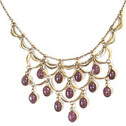 Circa 1950's Vintage necklace with tiered cascading ruby drops in 14k yellow gold