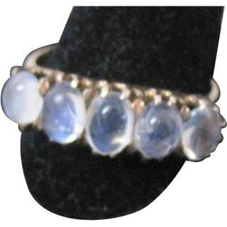 Vintage 14k yellow gold multi moonstone oval cabochon ring