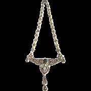 Vintage Bohemian vermeil garnet necklace with dangle drops and garnet florette chain