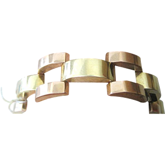 Retro 14k yellow and rose gold flexible link bracelet 25.82 grams