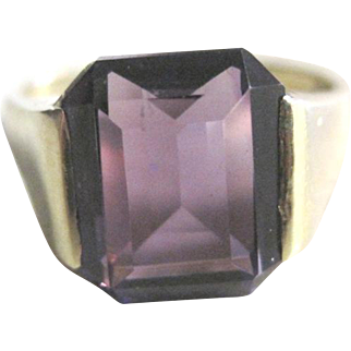 Emerald cut richly saturated amethyst solitaire ring set in 14kwg size 8 1/2