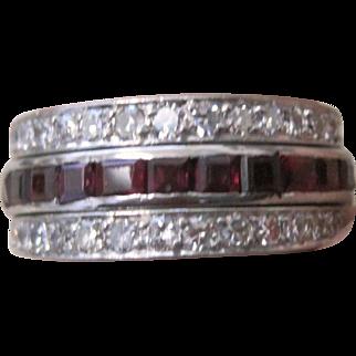 Rare Art Deco platinum 7.4 gram flip diamond ruby and sapphire triple wedding band