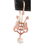 Victorian 14kyg lyre shaped earrings with 0.30tw dangle diamonds