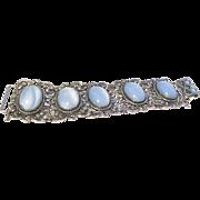 Danecraft sterling and glass moonstone link bracelet