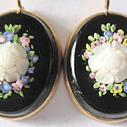Victorian 10 kyg black onyx and micro mosaic mourning earrings with fish hook backs